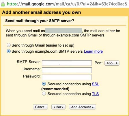 Gmail smtp server