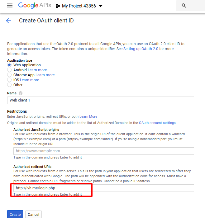 Login with Google Account using PHP - Redirect urls