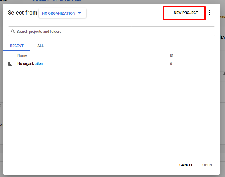 Login with Google Account using PHP - Select new project